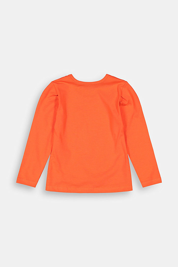 Long sleeve top with a flock print and organic cotton, ORANGE, detail image number 1