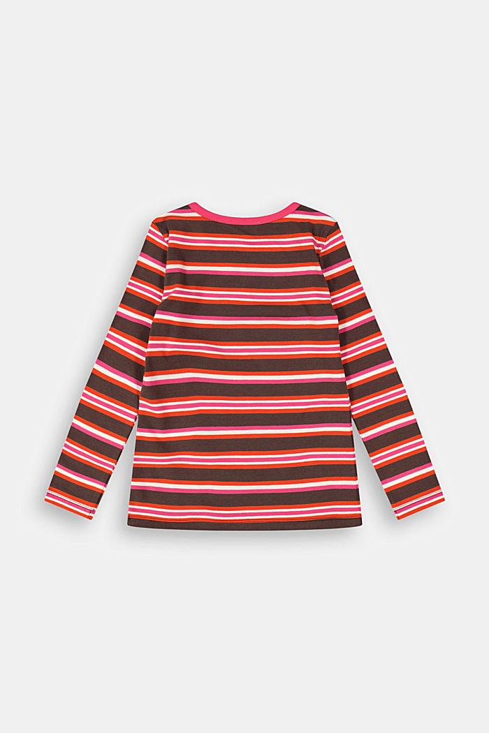 Striped long sleeve top in 100% cotton, DARK BROWN, detail image number 1