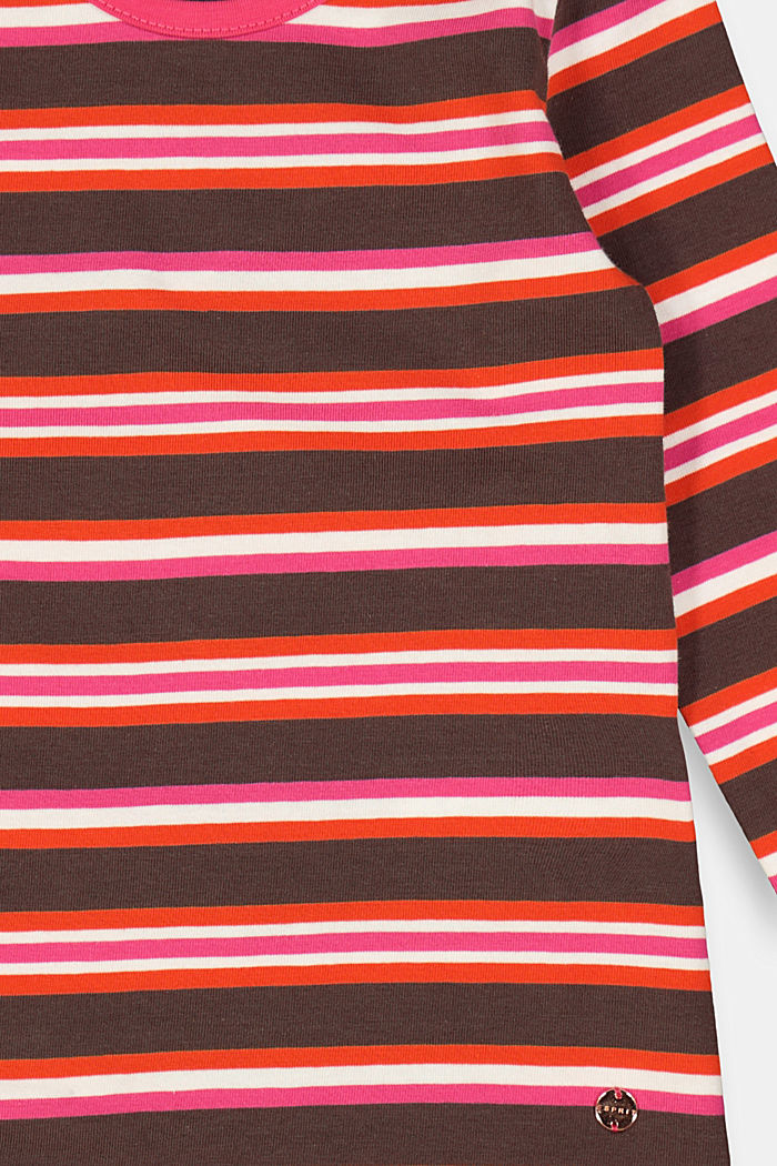Striped long sleeve top in 100% cotton, DARK BROWN, detail image number 2