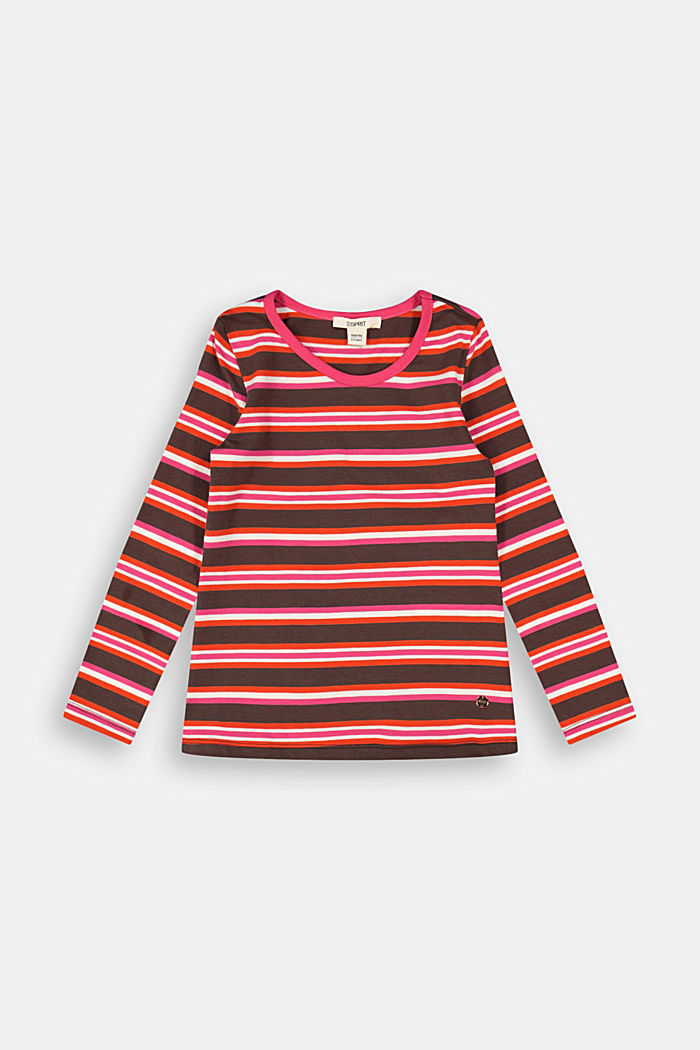 Striped long sleeve top in 100% cotton, DARK BROWN, detail image number 0