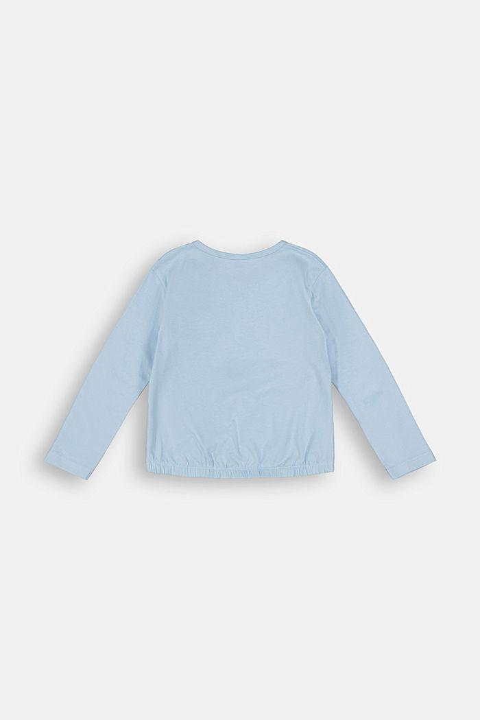 Long sleeve stretch cotton top, BLUE LAVENDER, detail image number 1