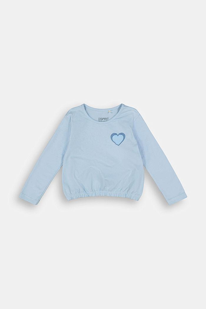 Long sleeve stretch cotton top, BLUE LAVENDER, detail image number 0