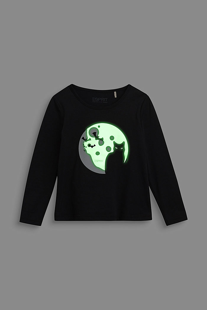 Long sleeve top with a fluorescent print, BLACK, detail image number 3