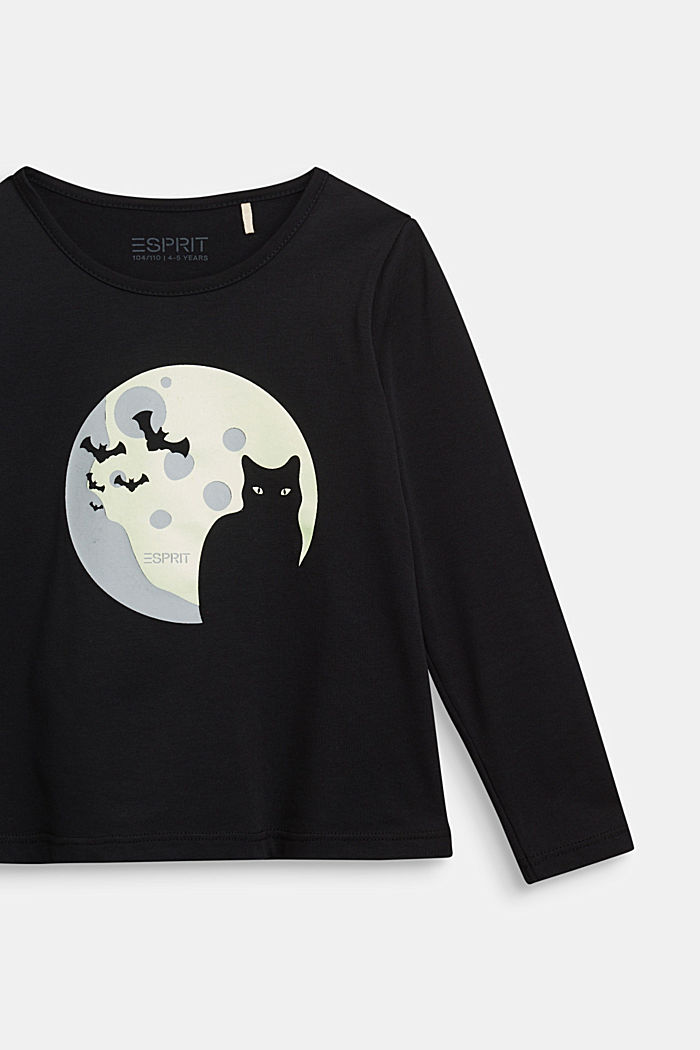 Long sleeve top with a fluorescent print, BLACK, detail image number 2