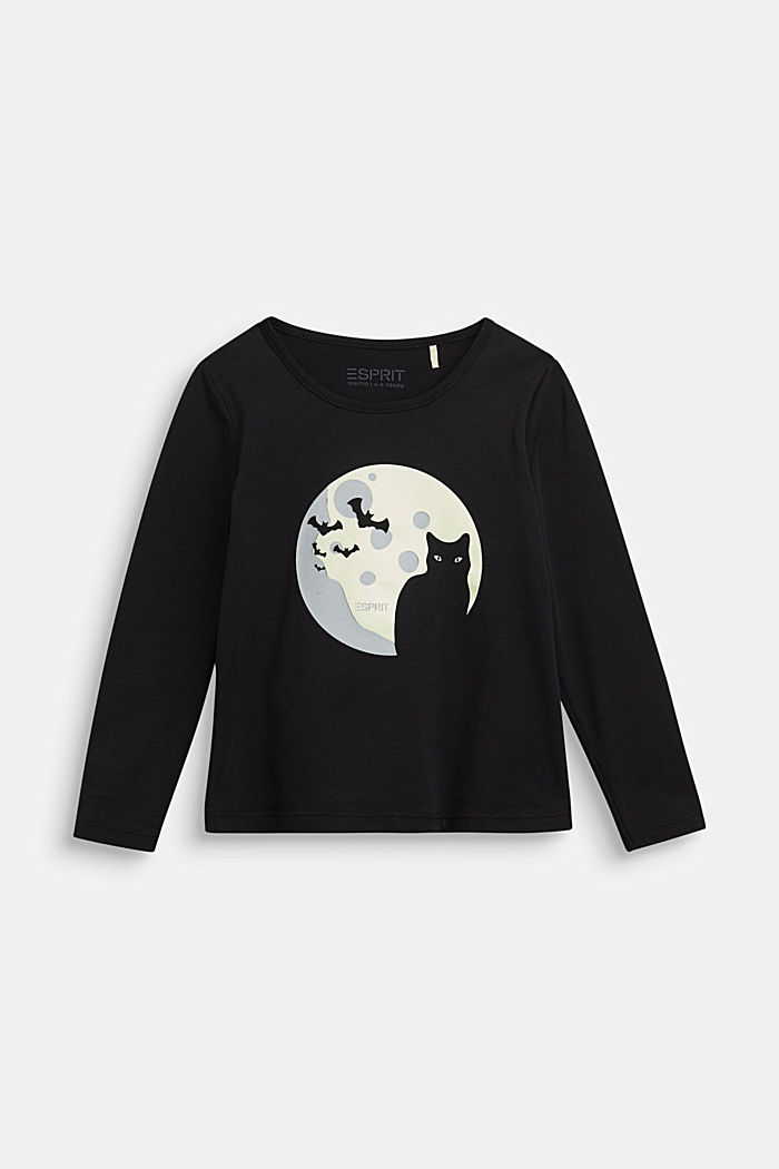 Long sleeve top with a fluorescent print, BLACK, detail image number 0