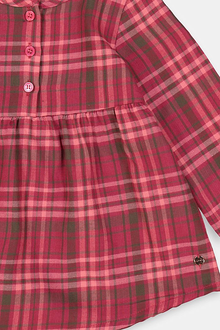 Karo-Kleid aus 100% Baumwolle, DARK PINK, detail image number 2