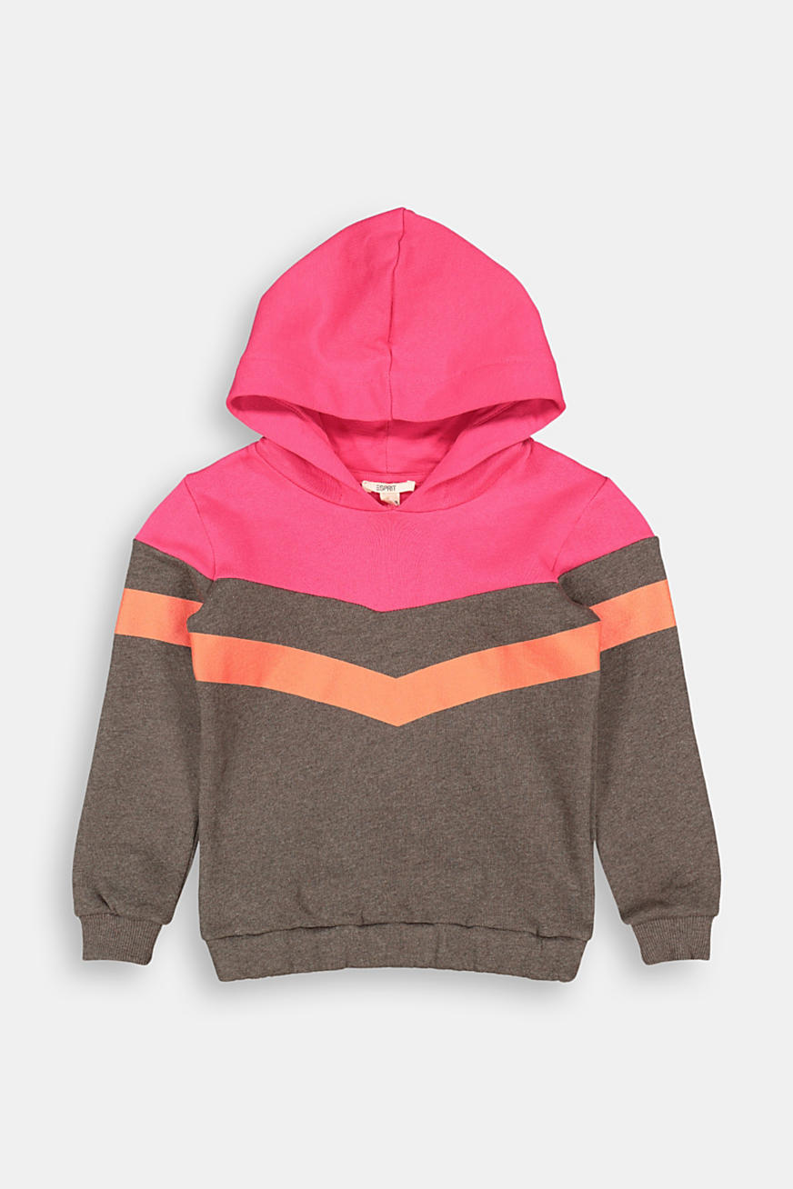 Sweat à capuche d´aspect colour blocking, 100 % coton