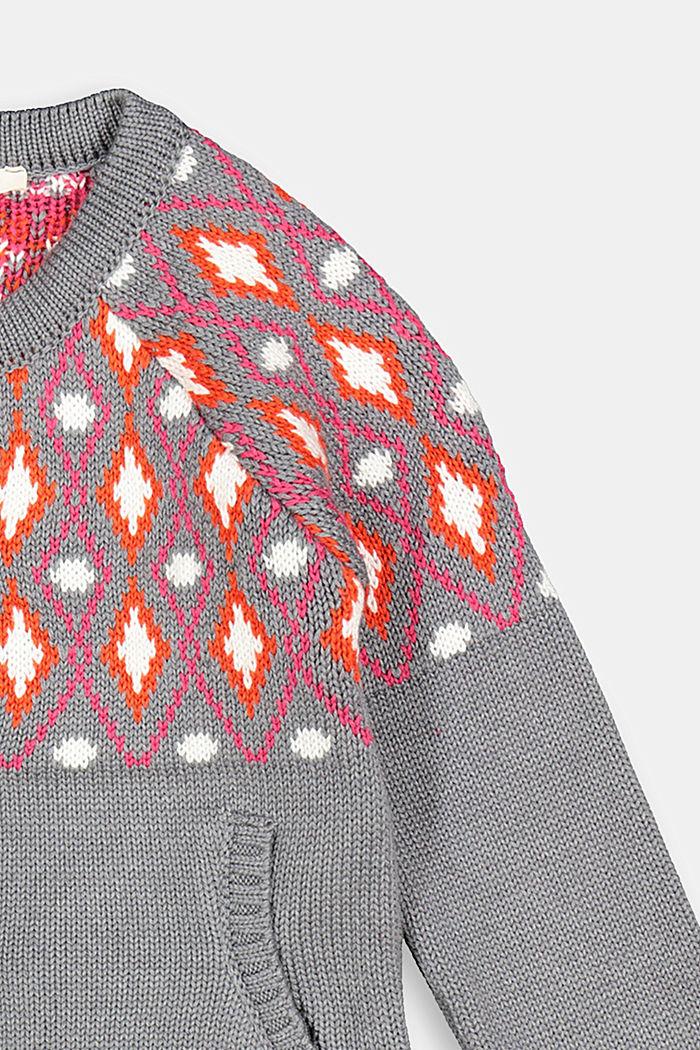 Jacquard cardigan in blended cotton, DARK GREY, detail image number 2