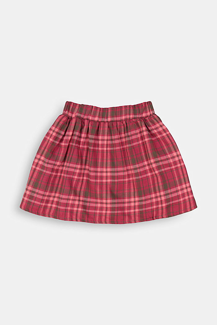 Cotton check skirt, DARK PINK, detail image number 2