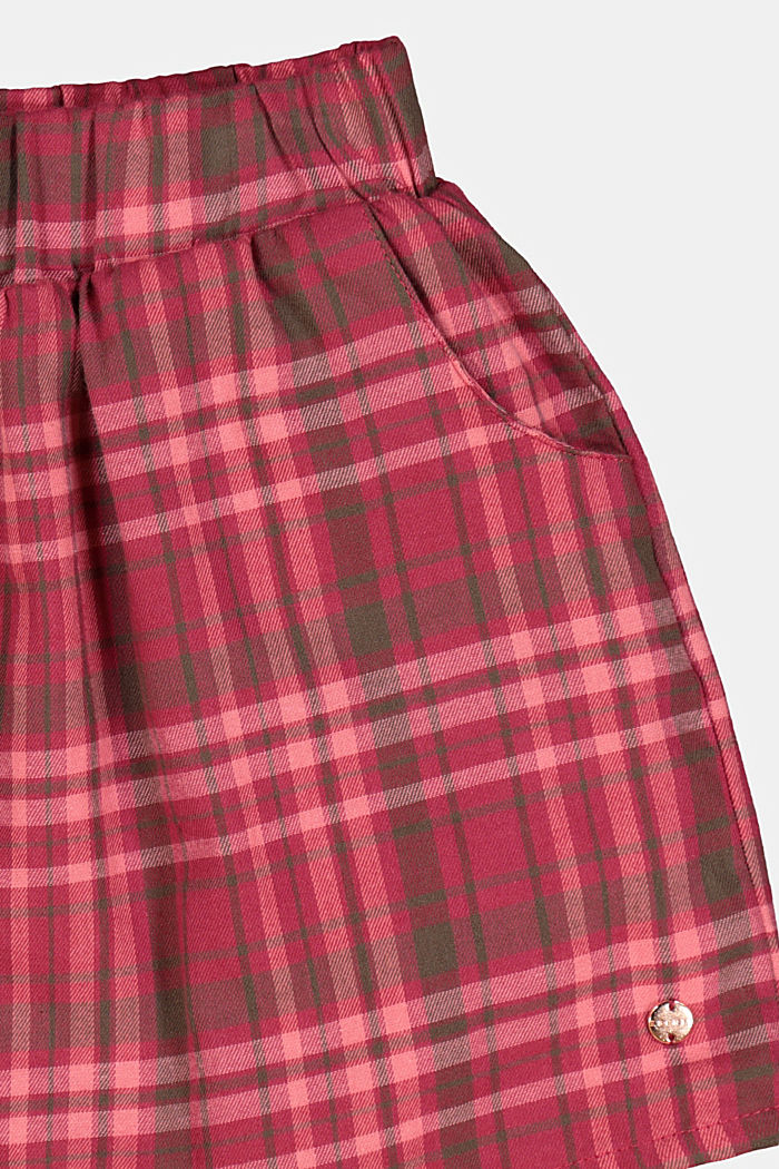 Cotton check skirt, DARK PINK, detail image number 1