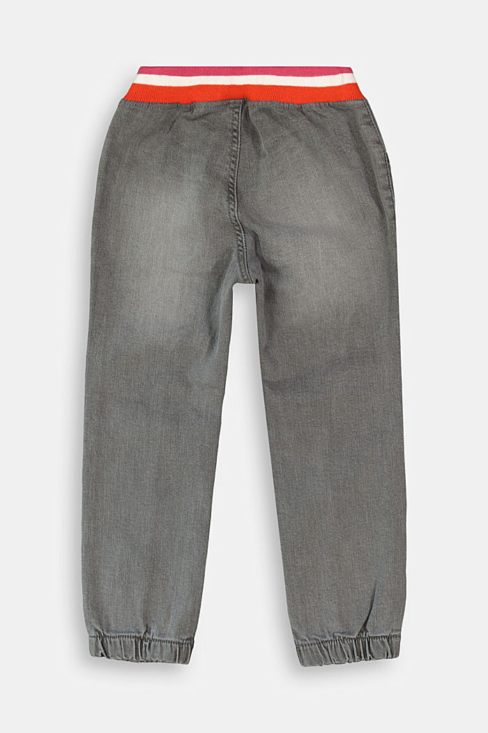 Jeans with a striped, ribbed waistband