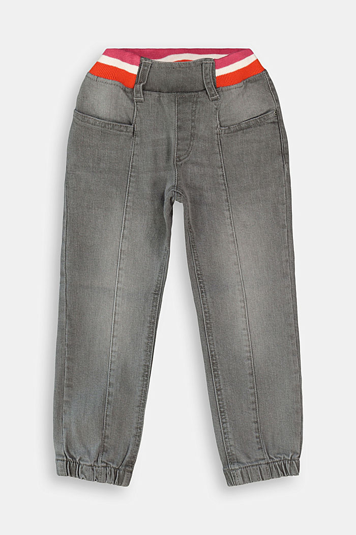 Jeans mit gestreiftem Ripp-Bund, GREY MEDIUM WASHED, overview
