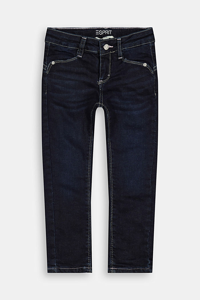 Jeans with jersey lining and adjustable waist
