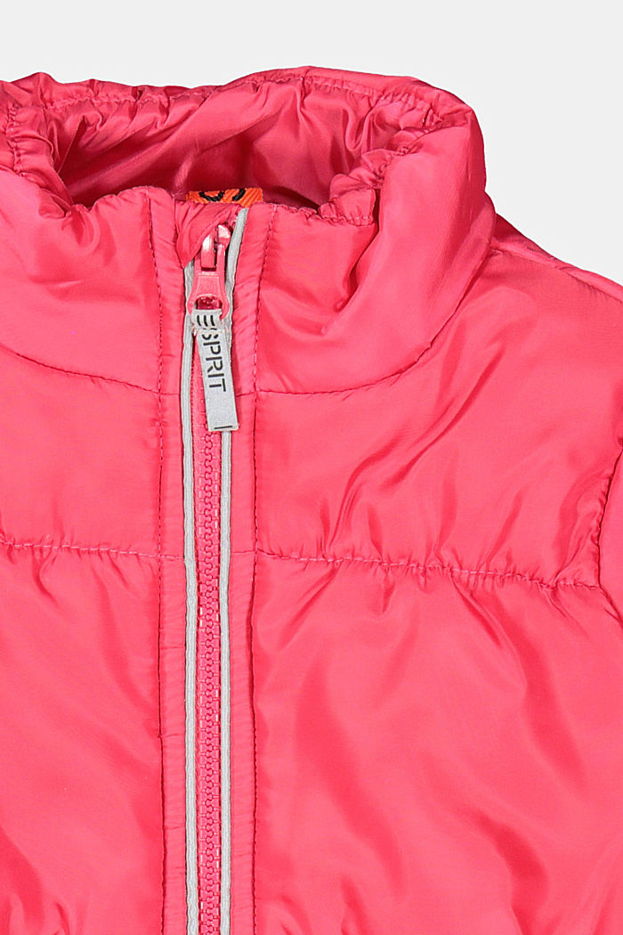 Padded quilted jacket with reflective details, DARK PINK, detail image number 2