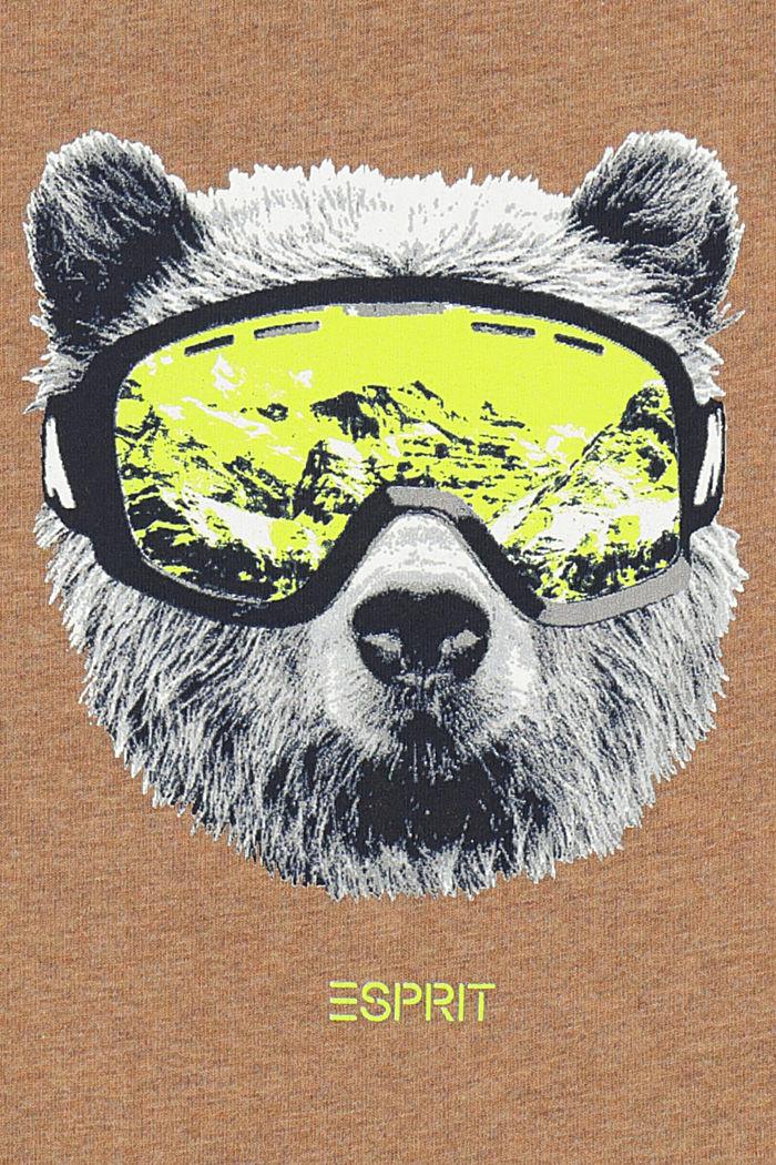 Printed long sleeve top in 100% cotton, TOFFEE MELANGE, detail image number 2