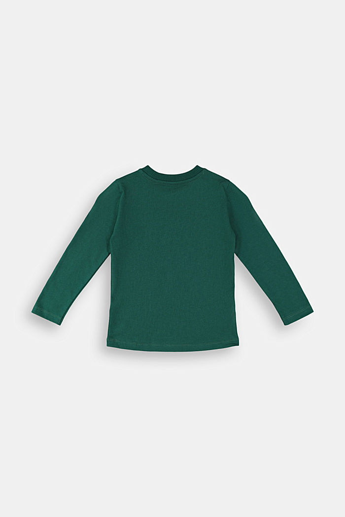 Printed long sleeve top in 100% cotton, FOREST, detail image number 1