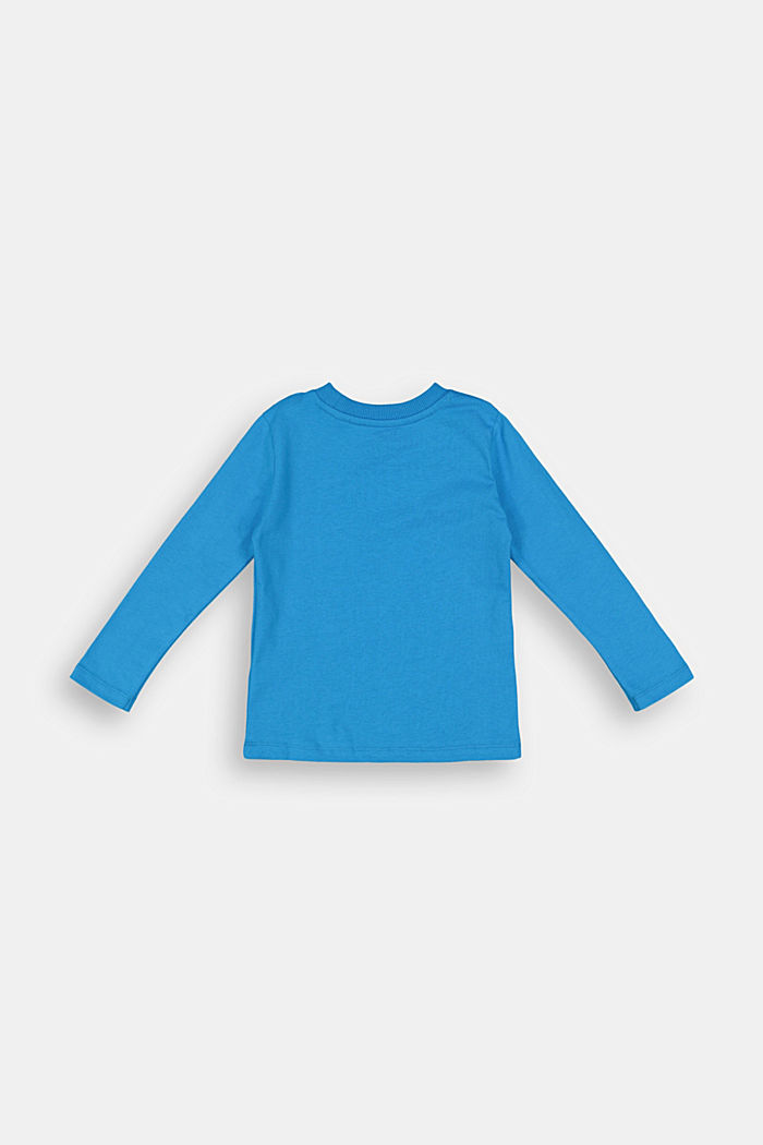 Printed long sleeve top in 100% cotton, DARK TURQUOISE, detail image number 1