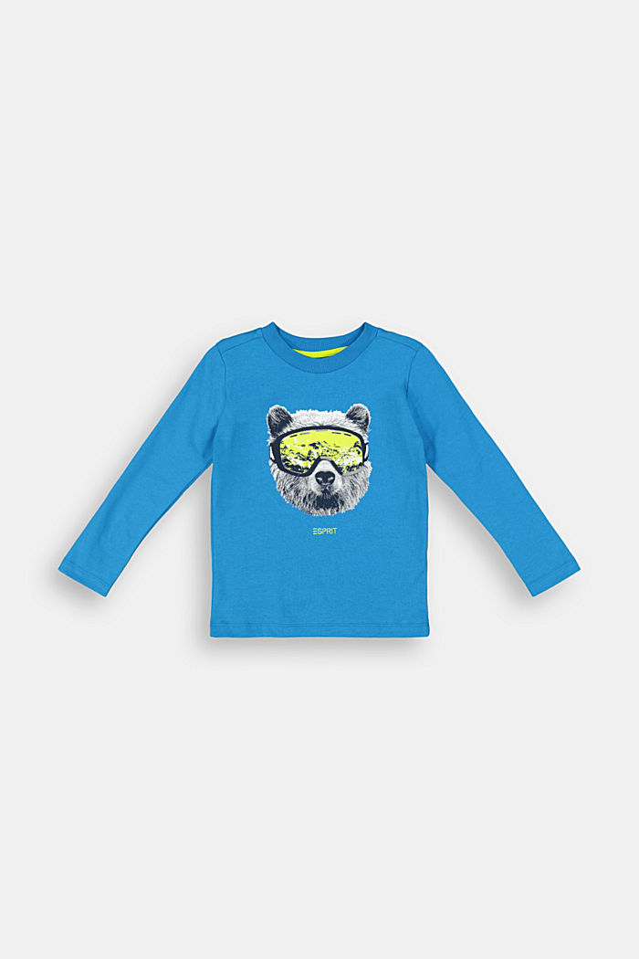 Printed long sleeve top in 100% cotton, DARK TURQUOISE, detail image number 0