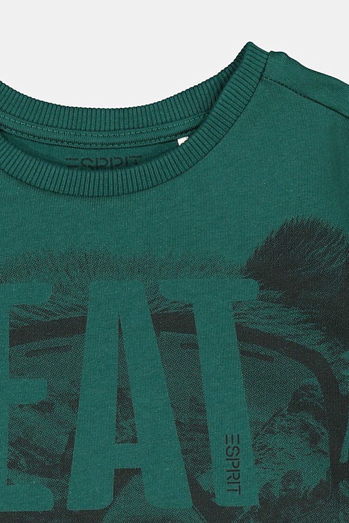 Printed long sleeve top in 100% cotton, FOREST, detail image number 2