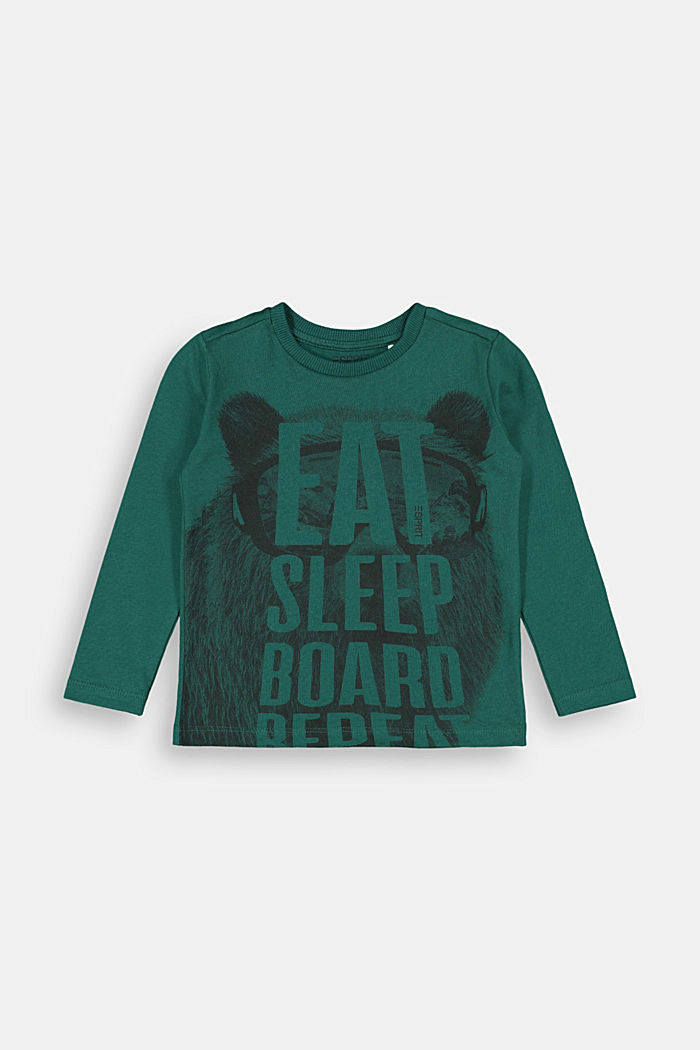 Printed long sleeve top in 100% cotton, FOREST, detail image number 0