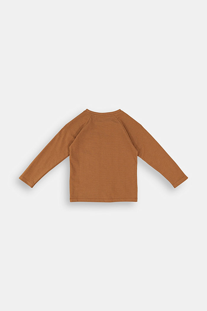 Long sleeve top made of 100% cotton, TOFFEE, detail image number 1