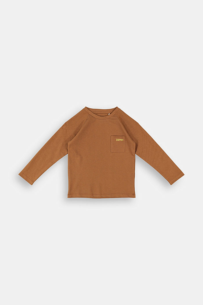 Long sleeve top made of 100% cotton, TOFFEE, detail image number 0