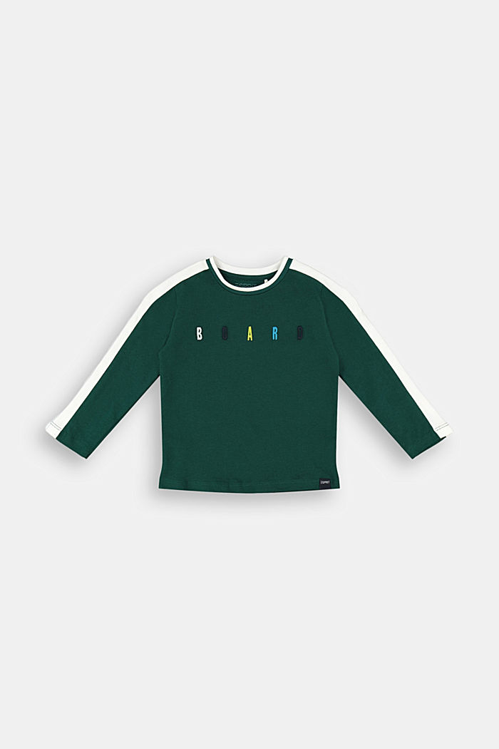 Embroidered long sleeve top made of 100% cotton, FOREST, detail image number 0