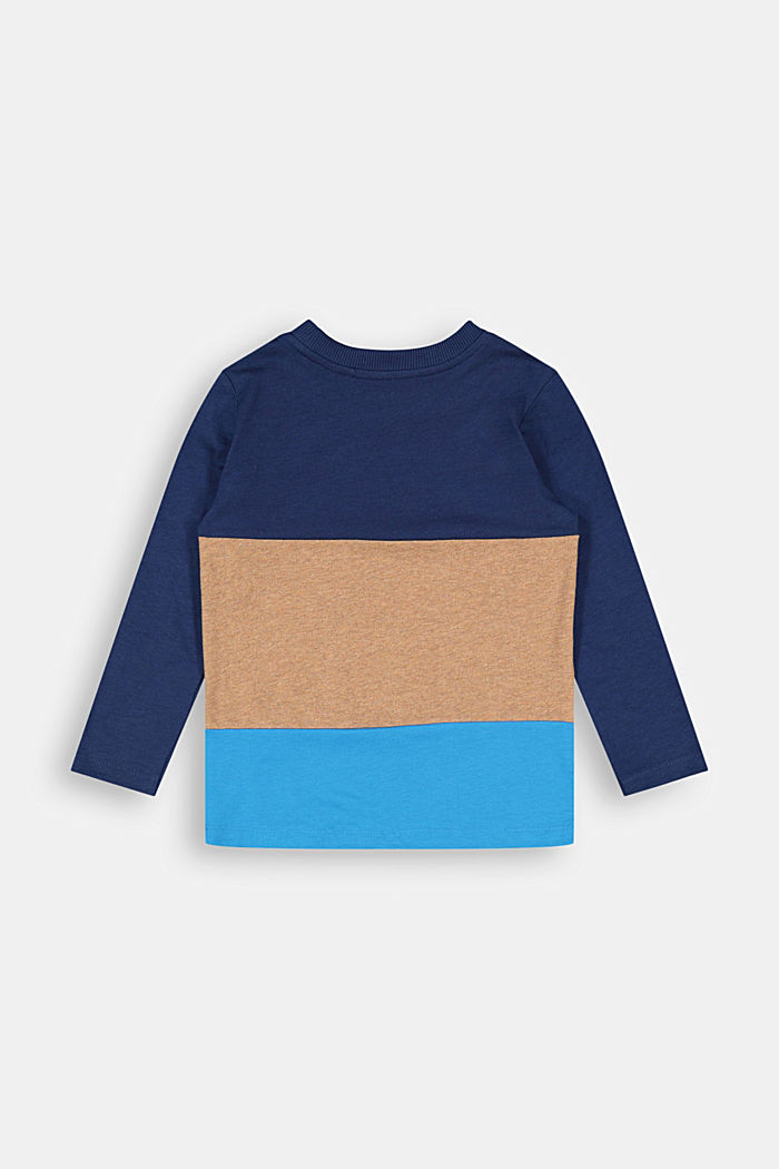 Colour block long sleeve top made of 100% cotton