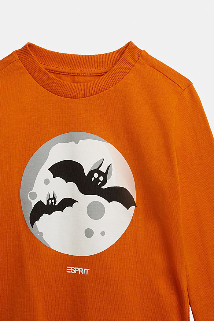Long sleeve top with a bat print, RUST ORANGE, detail image number 2
