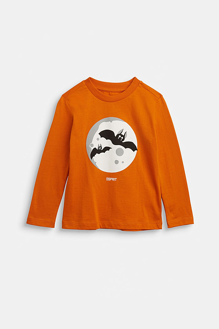Long sleeve top with a bat print, RUST ORANGE, detail image number 0