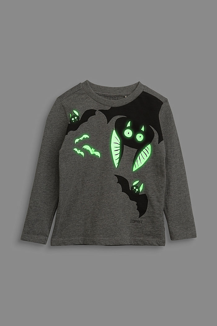 Long sleeve top with a fluorescent bat print, DARK GREY, detail image number 3