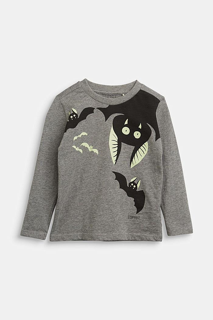 Long sleeve top with a fluorescent bat print