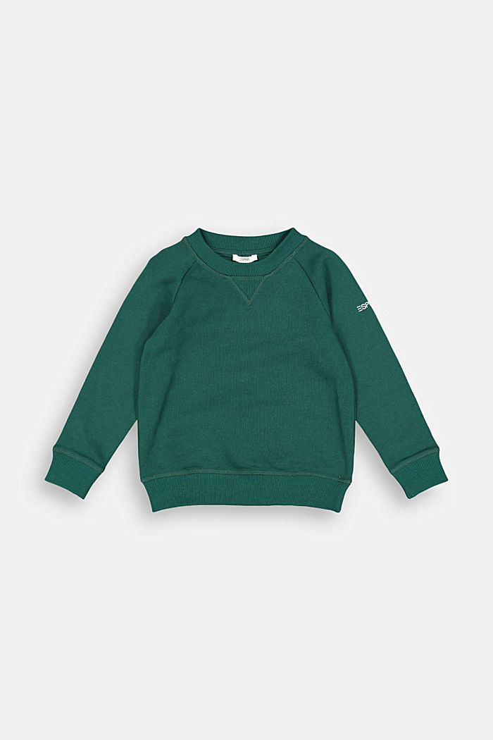 Basic sweatshirt made of 100% cotton, FOREST, overview