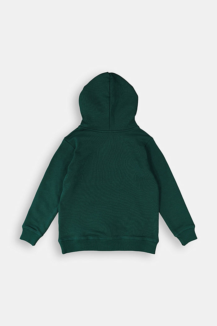 Hoodie with logo print, 100% cotton, FOREST, detail image number 1