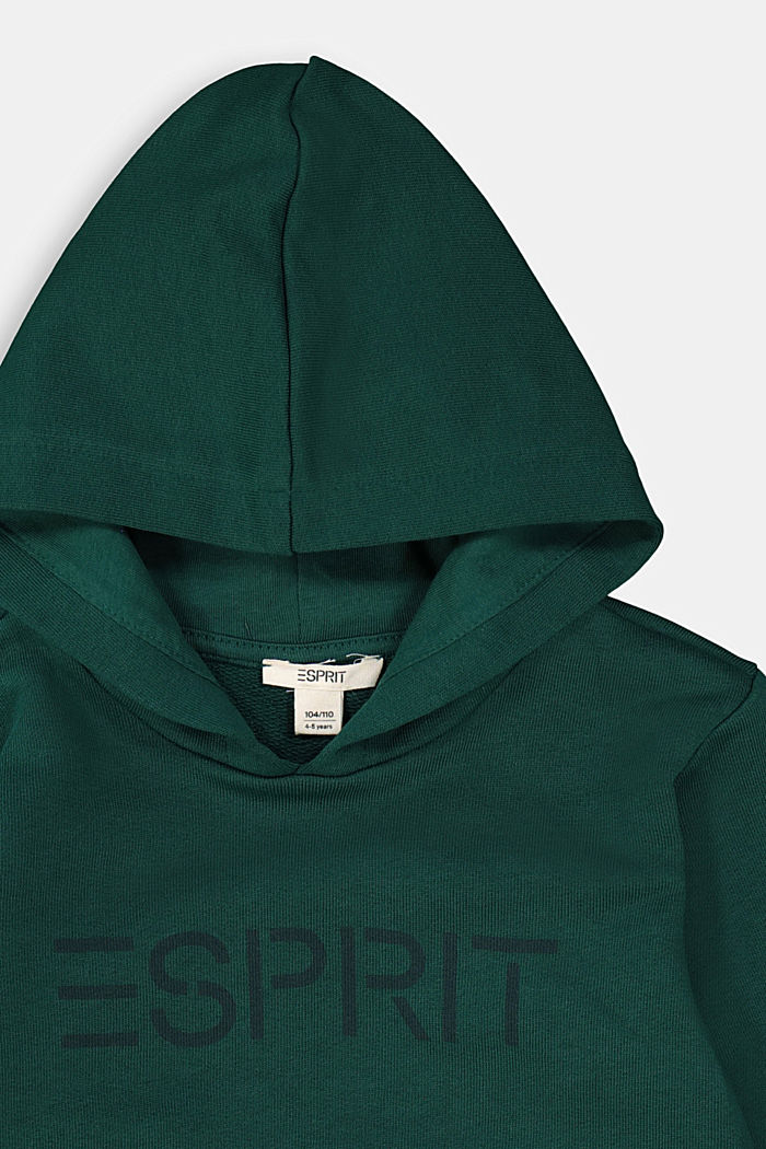 Hoodie with logo print, 100% cotton, FOREST, detail image number 2