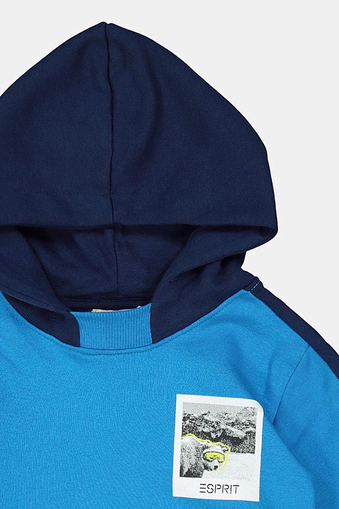 Sweatshirt hoodie in 100% cotton, DARK TURQUOISE, detail image number 2