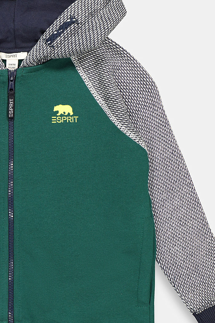 Sweatshirt cardigan in 100% cotton, FOREST, detail image number 2
