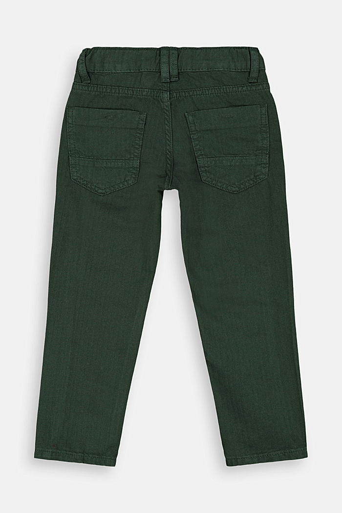 Textured trousers made of 100% cotton, FOREST, detail image number 2