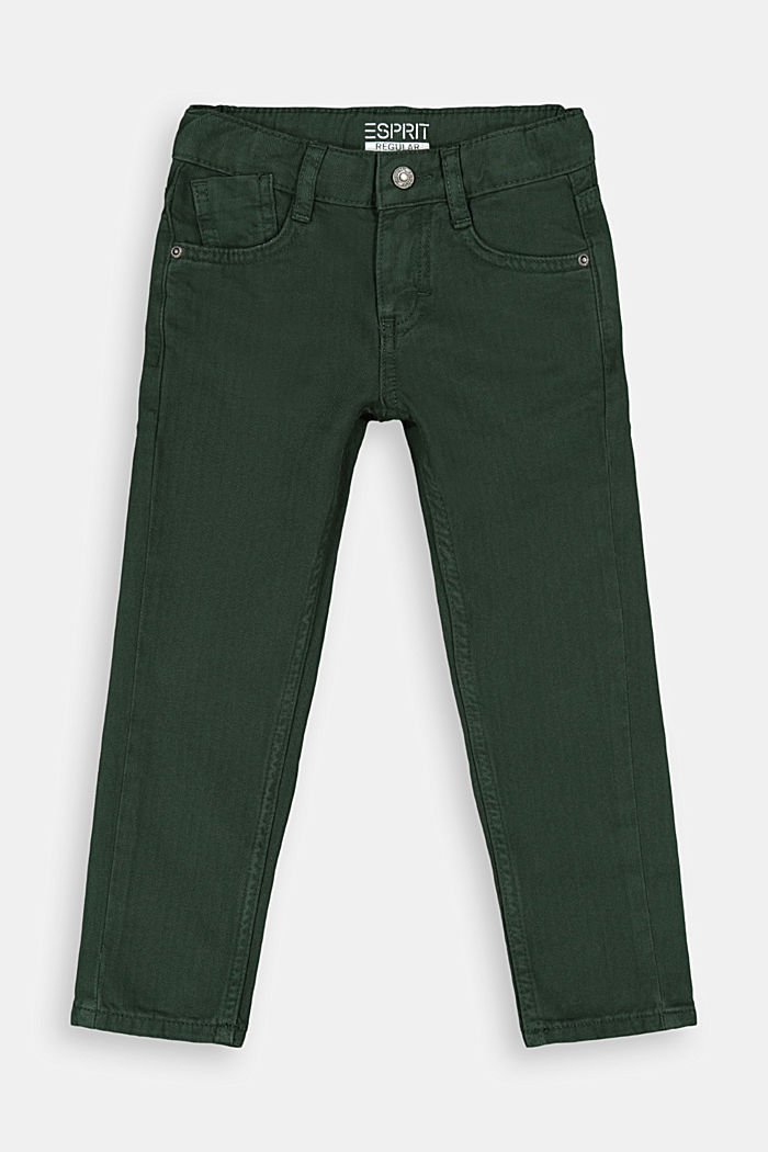 Textured trousers made of 100% cotton, FOREST, detail image number 0