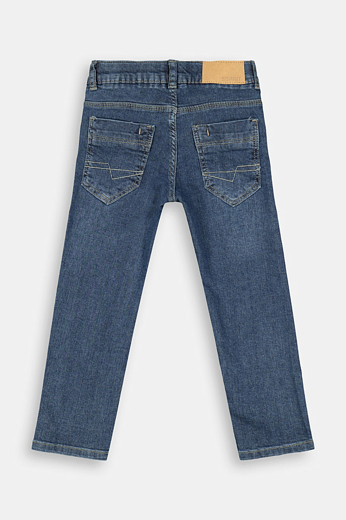 Denim trousers with a stretchy, adjustable waistband