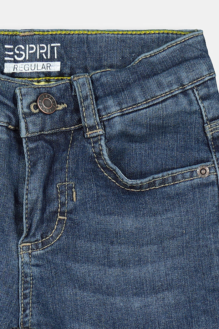 Denim trousers with a stretchy, adjustable waistband, BLUE DARK WASHED, detail image number 2