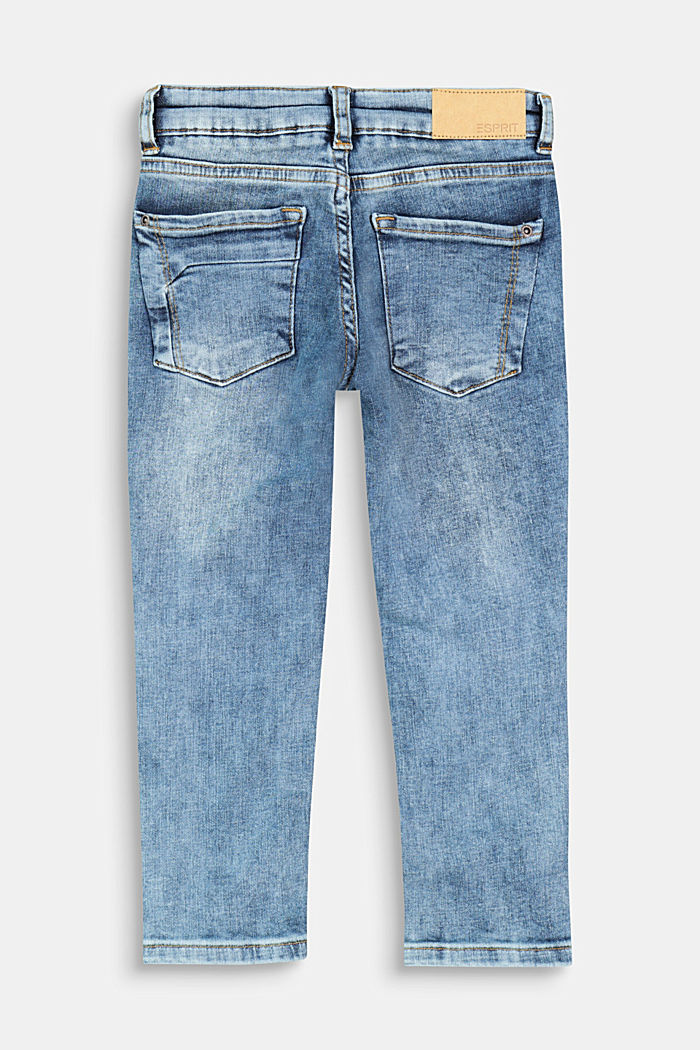 Jeans effetto usato con toppe, BLUE MEDIUM WASHED, detail image number 1