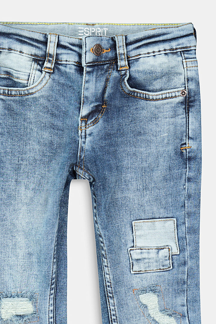 Jeans effetto usato con toppe, BLUE MEDIUM WASHED, detail image number 2