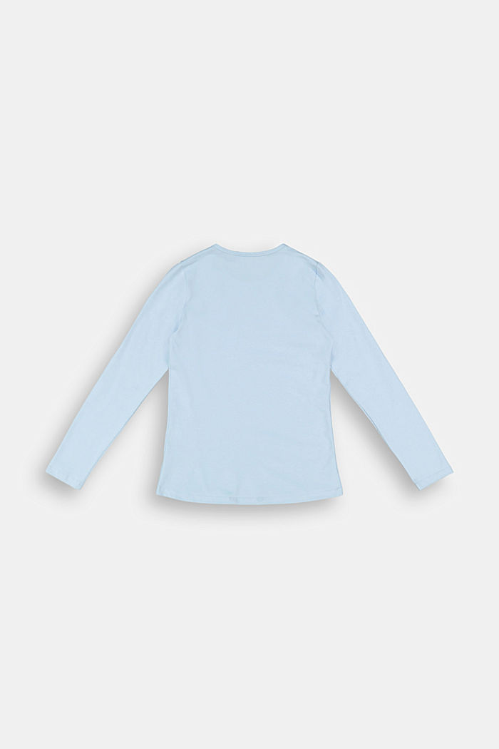 Long sleeve top with a logo print, BLUE LAVENDER, detail image number 1