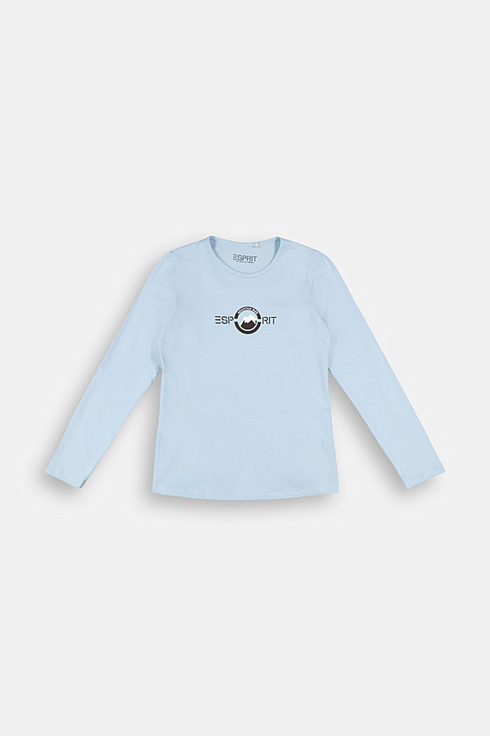 Long sleeve top with a logo print, BLUE LAVENDER, detail image number 0