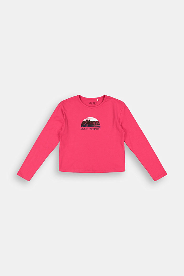 Long sleeve top with a wintry print, DARK PINK, detail image number 0