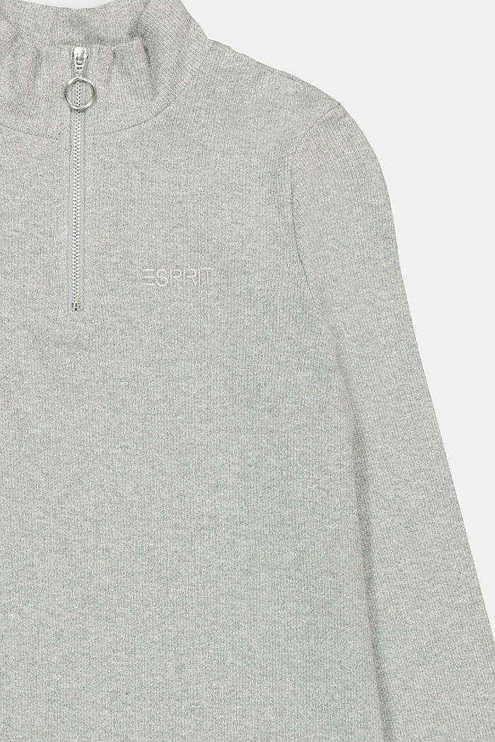 Long sleeve top with a zip made of 100% cotton, DARK GREY, detail image number 2
