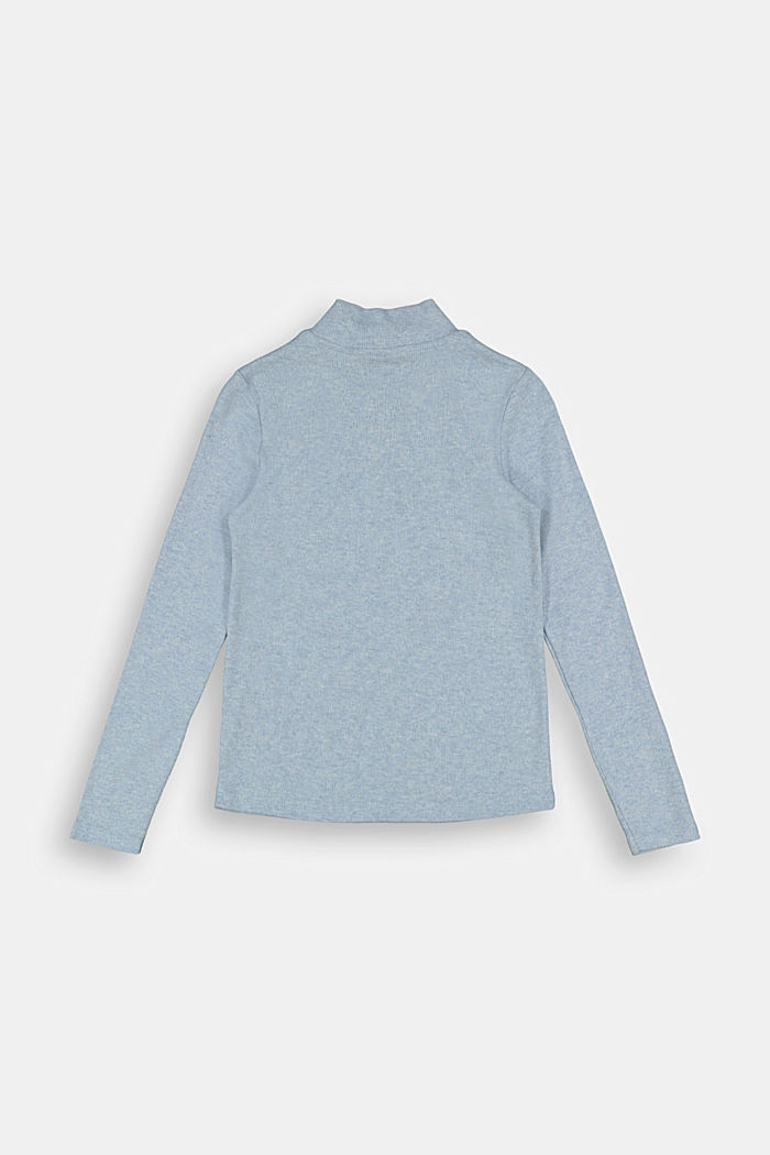 Long sleeve top with a zip made of 100% cotton, BLUE LAVENDER, detail image number 1