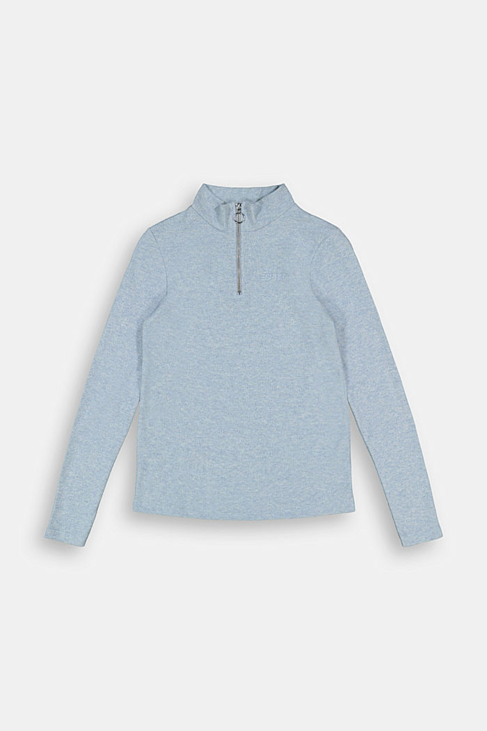 Long sleeve top with a zip made of 100% cotton