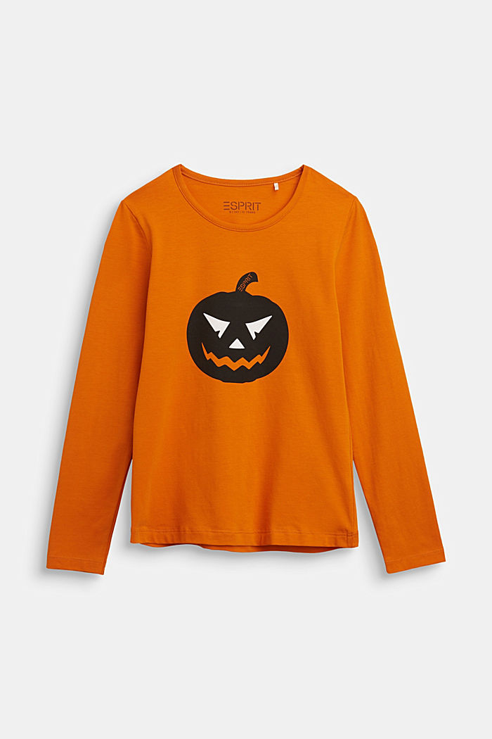 Long sleeve top with a pumpkin print, RUST ORANGE, detail image number 0